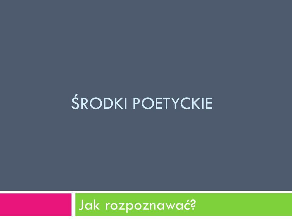 INNE NAZWY Zamiast określenia środki poetyckie używane są także nazwy: 1.