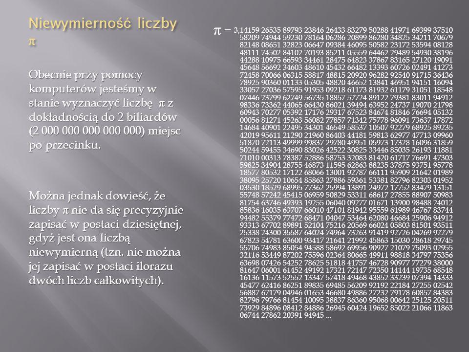 Liczba π w poezji Liczba π inspirowała reżyserów, muzyków i poetów.