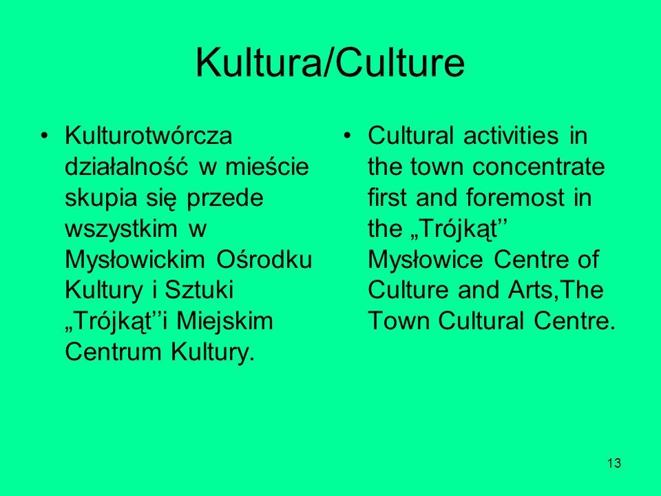 13 Kultura/Culture Kulturotwórcza działalność w mieście skupia się przede wszystkim w Mysłowickim Ośrodku Kultury i Sztuki Trójkąti Miejskim Centrum Kultury.