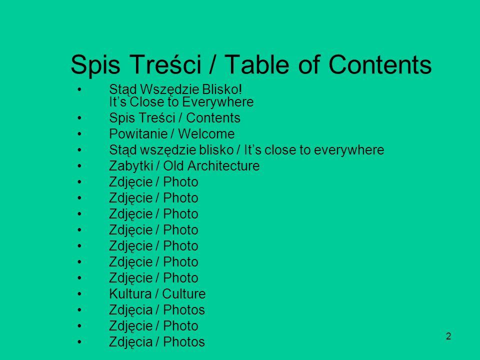 2 Spis Treści / Table of Contents Stąd Wszędzie Blisko.