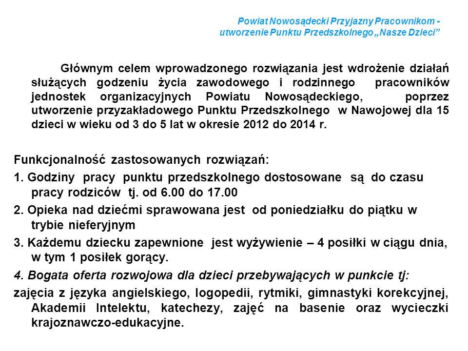 Powiat Nowosądecki Przyjazny Pracownikom - utworzenie Punktu Przedszkolnego Nasze Dzieci Głównym celem wprowadzonego rozwiązania jest wdrożenie działa