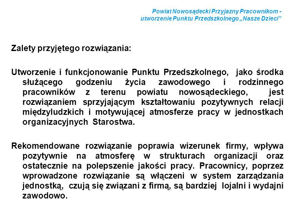 Powiat Nowosądecki Przyjazny Pracownikom - utworzenie Punktu Przedszkolnego Nasze Dzieci Zalety przyjętego rozwiązania: Utworzenie i funkcjonowanie Pu
