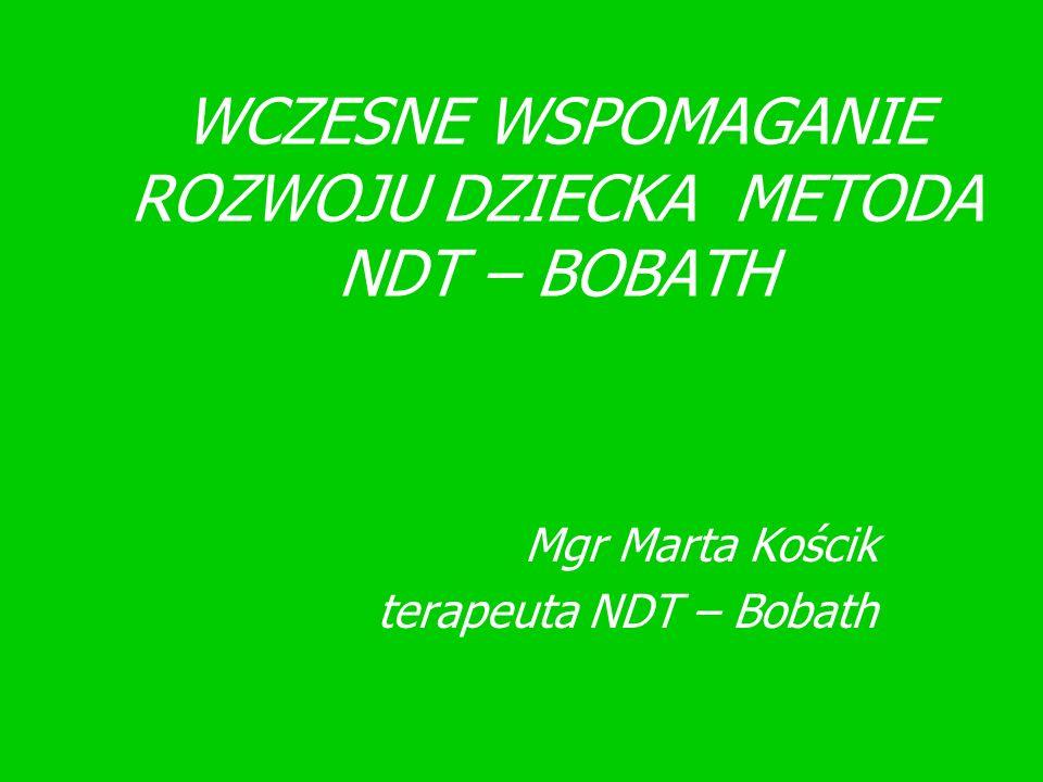 METODA NDT – BOBATH Ma za zadanie pomóc dziecku z uszkodzonym centralnym układem nerwowym we wszechstronnym rozwoju, tak, aby mogło uzyskać niezależność w życiu i wykorzystać maksymalnie swoje możliwości.