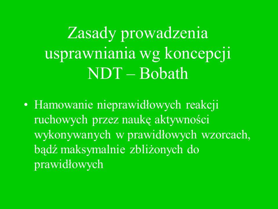 Zasady prowadzenia usprawniania wg koncepcji NDT – Bobath Wykorzystanie i utrwalanie zdobytych umiejętności ruchowych w życiu codziennym dzięki poinstruowaniu rodziców/opiekunów dziecka w zakresie pielęgnacji, karmienia i zabaw z dzieckiem
