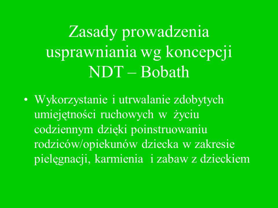 Zasady prowadzenia usprawniania wg koncepcji NDT – Bobath Wykorzystanie i utrwalanie zdobytych umiejętności ruchowych w życiu codziennym dzięki poinst