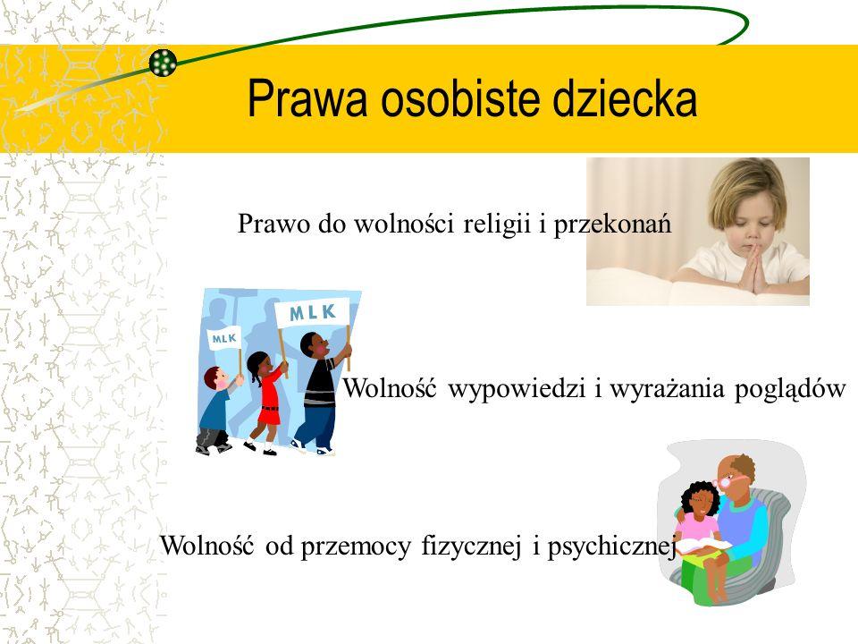 Prawa socjalne Prawo do wypoczynku, czasu wolnego, rozrywki i zabawy Prawo do odpowiednich warunków życia Prawo do ochrony zdrowia
