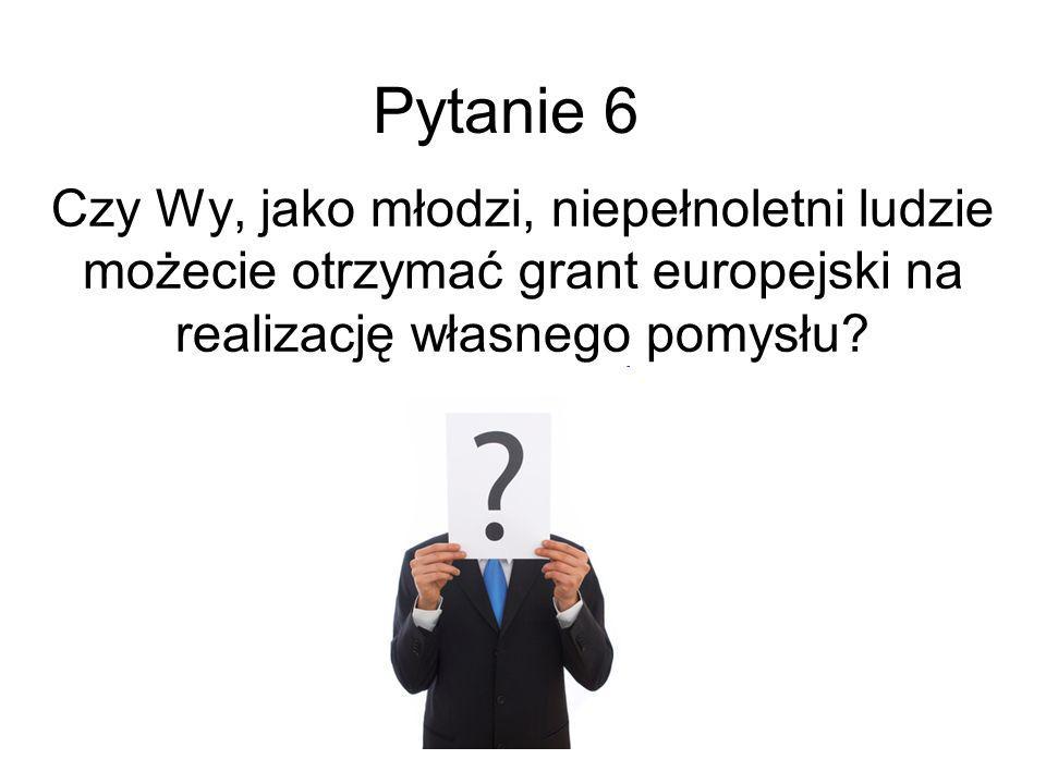 Pytanie 6 Czy Wy, jako młodzi, niepełnoletni ludzie możecie otrzymać grant europejski na realizację własnego pomysłu?
