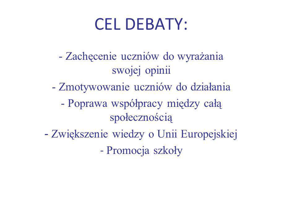CEL DEBATY: - Zachęcenie uczniów do wyrażania swojej opinii - Zmotywowanie uczniów do działania - Poprawa współpracy między całą społecznością - Zwiększenie wiedzy o Unii Europejskiej - Promocja szkoły