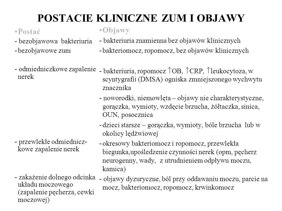 POSTACIE KLINICZNE ZUM I OBJAWY Postać - bezobjawowa bakteriuria -bezobjawowe zum - odmiedniczkowe zapalenie nerek - przewlekłe odmiednicz- kowe zapalenie nerek - zakażenie dolnego odcinka układu moczowego (zapalenie pęcherza, cewki moczowej) Objawy - bakteriuria znamienna bez objawów klinicznych -bakteriomocz, ropomocz, bez objawów klinicznych - bakteriuria, ropomocz OB, CRP, leukocytoza, w scyntygrafii (DMSA) ogniska zmniejszonego wychwytu znacznika - noworodki, niemowlęta – objawy nie charakterystyczne, gorączka, wymioty, wzdęcie brzucha, żółtaczka, sinica, OUN, posocznica -dzieci starsze – gorączka, wymioty, bóle brzucha lub w okolicy lędźwiowej -okresowy bakteriomocz i ropomocz, przewlekła biegunka,upośledzenie czynności nerek (opm, pęcherz neurogenny, wady, z utrudnieniem odpływu moczu, kamica) - objawy dyzuryczne, ból przy oddawaniu moczu, parcie na mocz, bakteriomocz, ropomocz, krwinkomocz