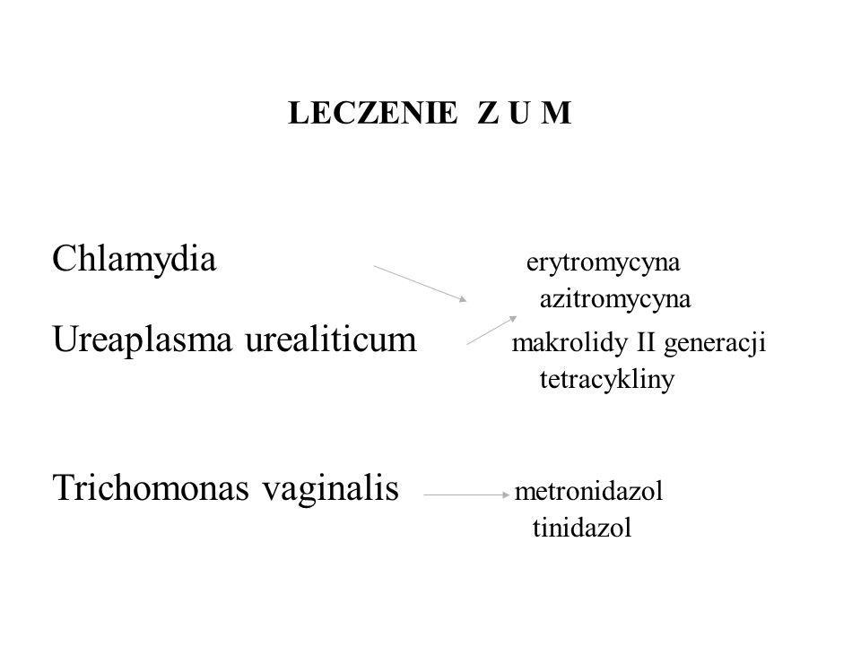 LECZENIE Z U M Chlamydia erytromycyna azitromycyna Ureaplasma urealiticum makrolidy II generacji tetracykliny Trichomonas vaginalis metronidazol tinidazol