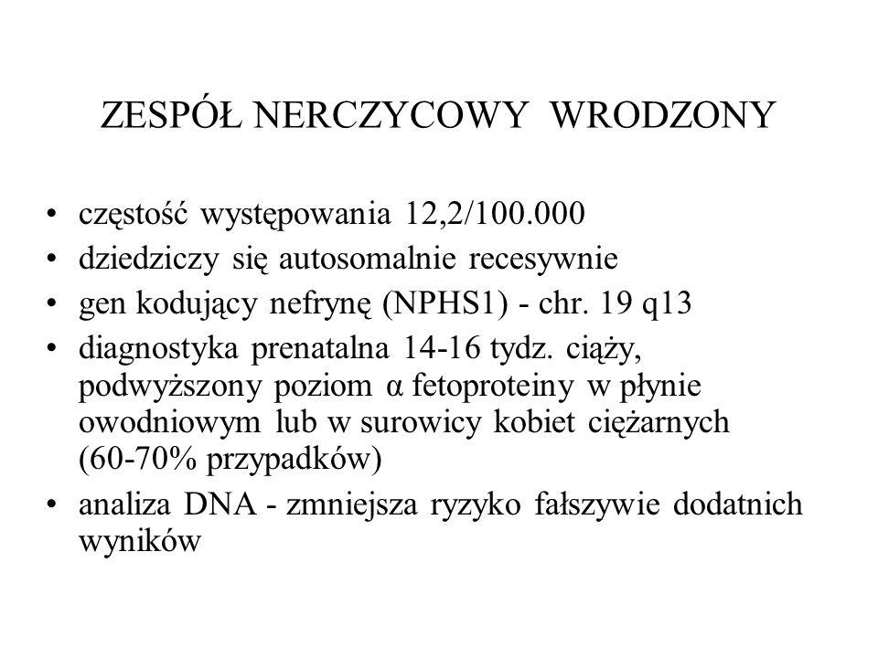 ZESPÓŁ NERCZYCOWY WRODZONY częstość występowania 12,2/100.000 dziedziczy się autosomalnie recesywnie gen kodujący nefrynę (NPHS1) - chr.