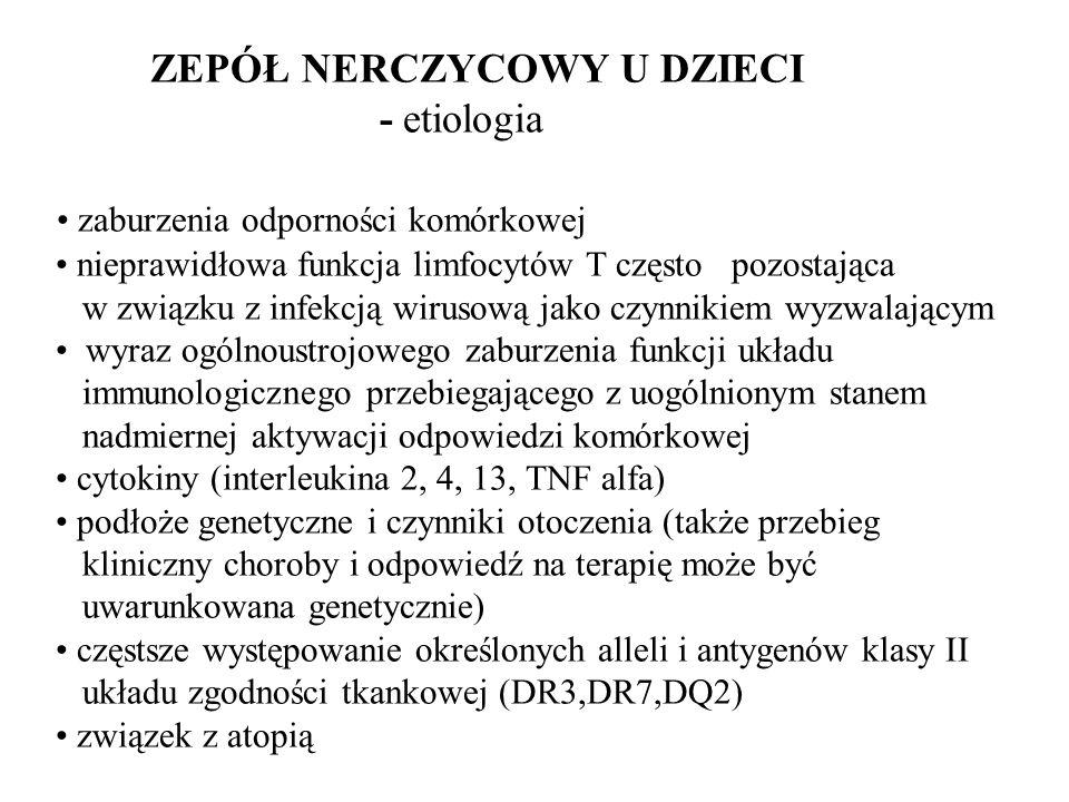 ZEPÓŁ NERCZYCOWY U DZIECI - etiologia zaburzenia odporności komórkowej nieprawidłowa funkcja limfocytów T często pozostająca w związku z infekcją wirusową jako czynnikiem wyzwalającym wyraz ogólnoustrojowego zaburzenia funkcji układu immunologicznego przebiegającego z uogólnionym stanem nadmiernej aktywacji odpowiedzi komórkowej cytokiny (interleukina 2, 4, 13, TNF alfa) podłoże genetyczne i czynniki otoczenia (także przebieg kliniczny choroby i odpowiedź na terapię może być uwarunkowana genetycznie) częstsze występowanie określonych alleli i antygenów klasy II układu zgodności tkankowej (DR3,DR7,DQ2) związek z atopią
