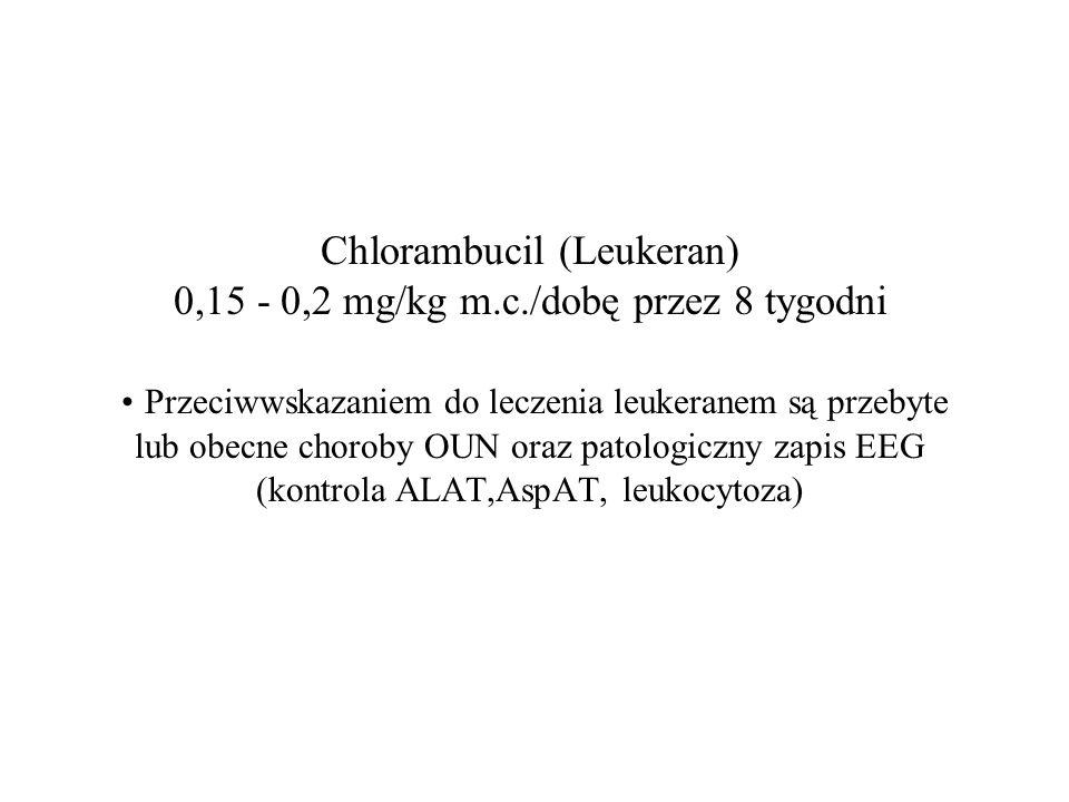 Chlorambucil (Leukeran) 0,15 - 0,2 mg/kg m.c./dobę przez 8 tygodni Przeciwwskazaniem do leczenia leukeranem są przebyte lub obecne choroby OUN oraz patologiczny zapis EEG (kontrola ALAT,AspAT, leukocytoza)