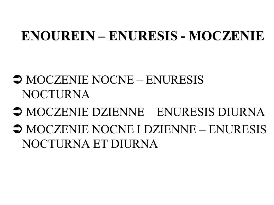 ENOUREIN – ENURESIS - MOCZENIE MOCZENIE NOCNE – ENURESIS NOCTURNA MOCZENIE DZIENNE – ENURESIS DIURNA MOCZENIE NOCNE I DZIENNE – ENURESIS NOCTURNA ET DIURNA