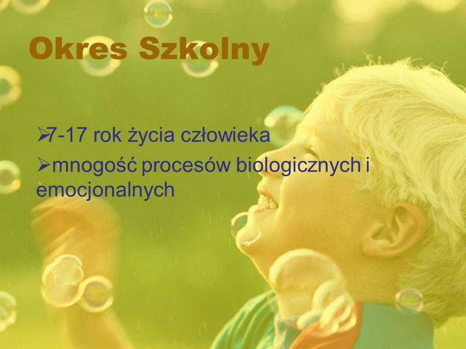 Okres Szkolny 7-17 rok życia człowieka mnogość procesów biologicznych i emocjonalnych