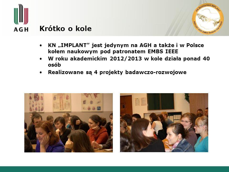 Krótko o kole KN IMPLANT jest jedynym na AGH a także i w Polsce kołem naukowym pod patronatem EMBS IEEE W roku akademickim 2012/2013 w kole działa ponad 40 osób Realizowane są 4 projekty badawczo-rozwojowe