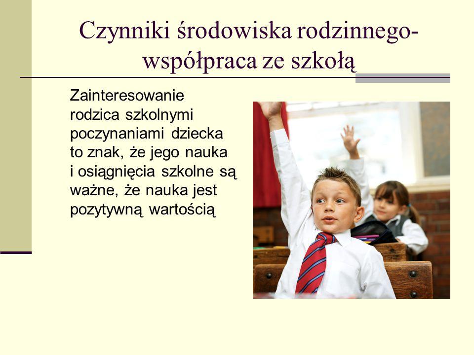 Czynniki środowiska rodzinnego- współpraca ze szkołą Zainteresowanie rodzica szkolnymi poczynaniami dziecka to znak, że jego nauka i osiągnięcia szkol