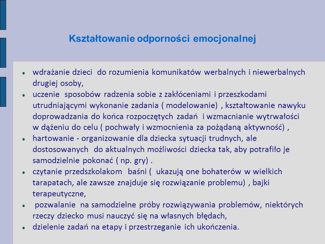 Kształtowanie odporności emocjonalnej wdrażanie dzieci do rozumienia komunikatów werbalnych i niewerbalnych drugiej osoby, uczenie sposobów radzenia s
