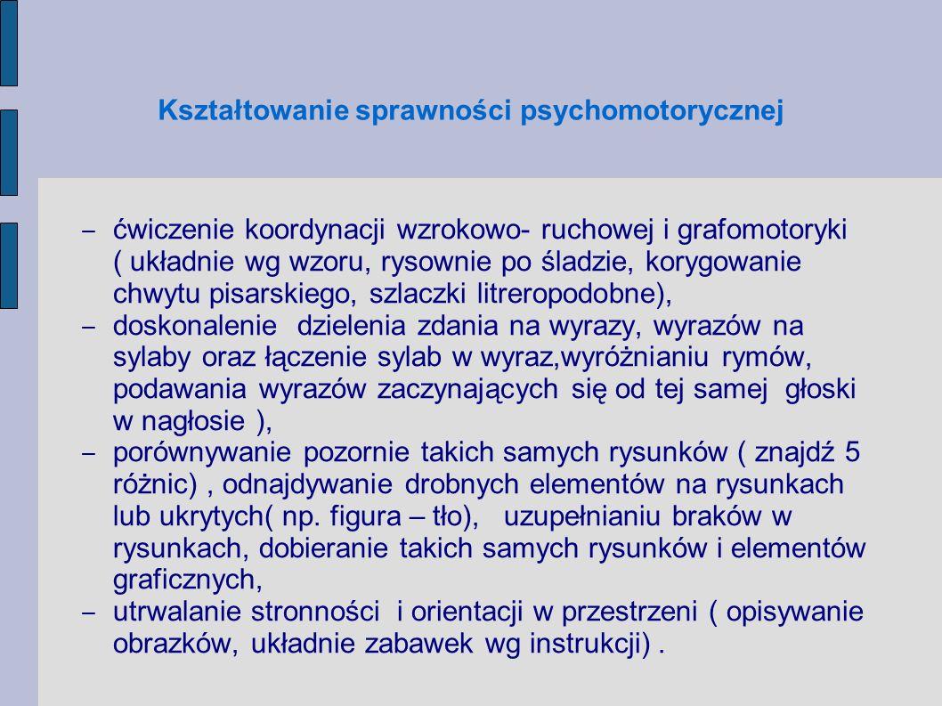 Kształtowanie sprawności psychomotorycznej ćwiczenie koordynacji wzrokowo- ruchowej i grafomotoryki ( układnie wg wzoru, rysownie po śladzie, korygowa