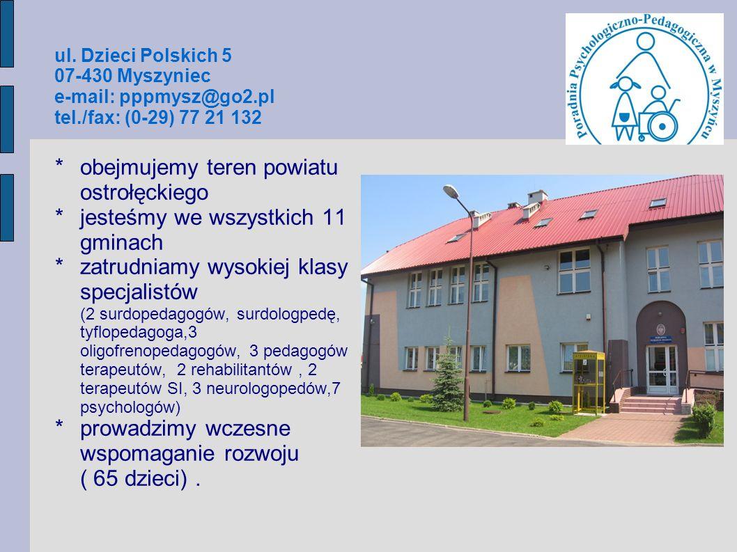ul. Dzieci Polskich 5 07-430 Myszyniec e-mail: pppmysz@go2.pl tel./fax: (0-29) 77 21 132 *obejmujemy teren powiatu ostrołęckiego *jesteśmy we wszystki