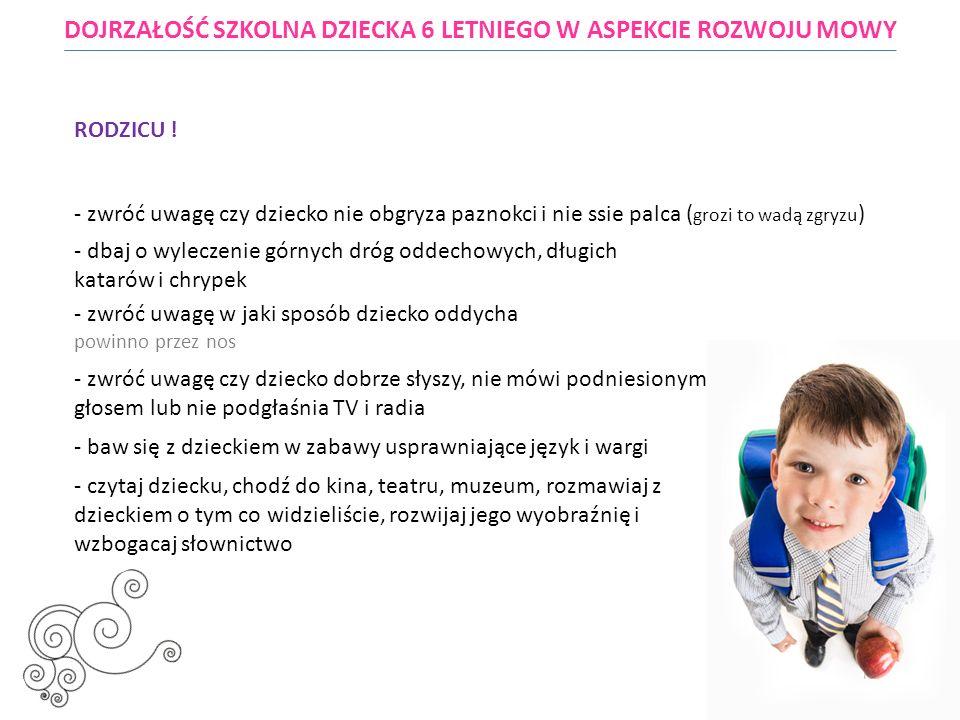 DOJRZAŁOŚĆ SZKOLNA DZIECKA 6 LETNIEGO W ASPEKCIE ROZWOJU MOWY Beata Finster neurologopeda