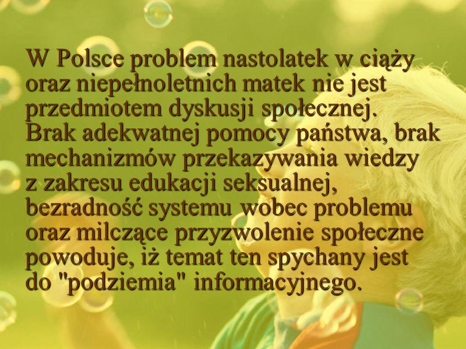 W Polsce problem nastolatek w ciąży oraz niepełnoletnich matek nie jest przedmiotem dyskusji społecznej. Brak adekwatnej pomocy państwa, brak mechaniz