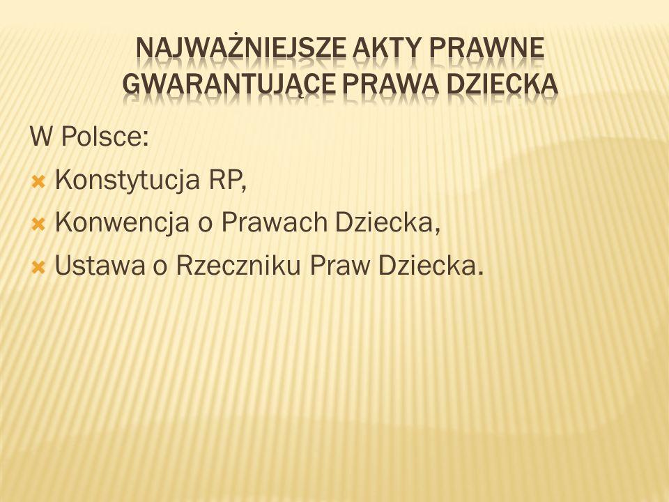 W Polsce: Konstytucja RP, Konwencja o Prawach Dziecka, Ustawa o Rzeczniku Praw Dziecka.