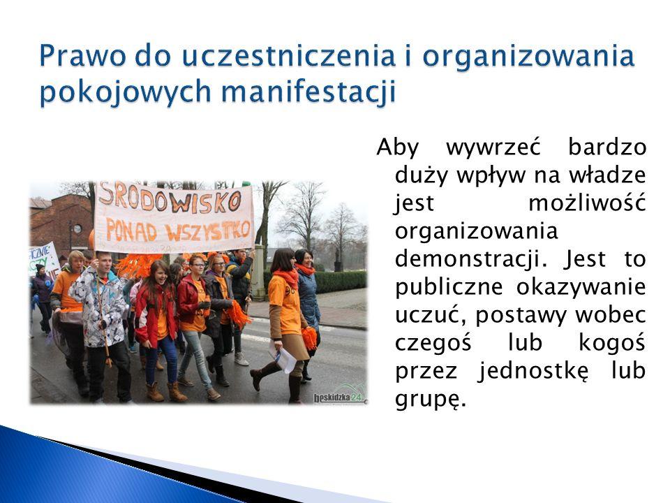 Aby wywrzeć bardzo duży wpływ na władze jest możliwość organizowania demonstracji.