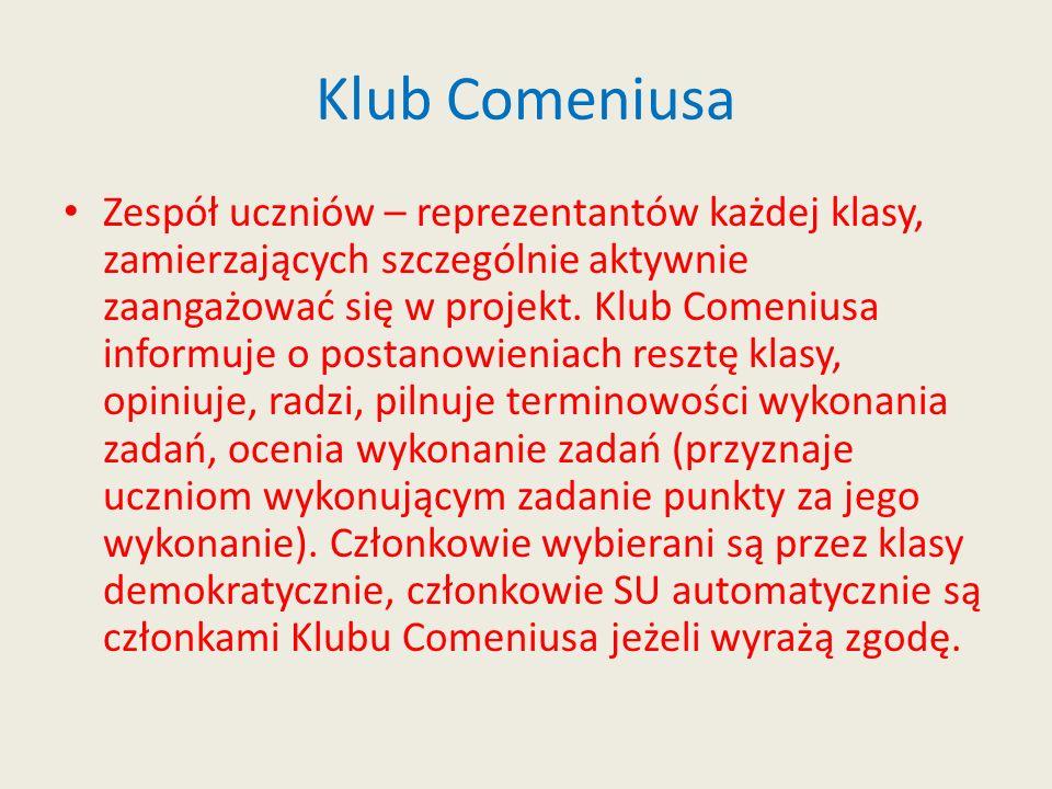 Klub Comeniusa Zespół uczniów – reprezentantów każdej klasy, zamierzających szczególnie aktywnie zaangażować się w projekt. Klub Comeniusa informuje o