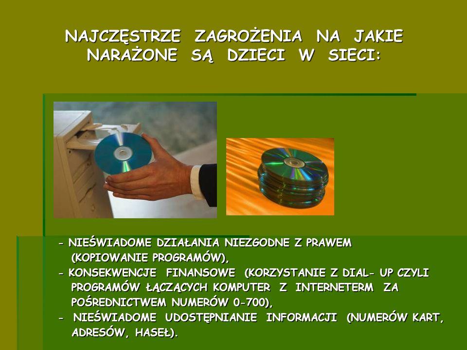 - NIEŚWIADOME DZIAŁANIA NIEZGODNE Z PRAWEM (KOPIOWANIE PROGRAMÓW), (KOPIOWANIE PROGRAMÓW), - KONSEKWENCJE FINANSOWE (KORZYSTANIE Z DIAL- UP CZYLI PROG
