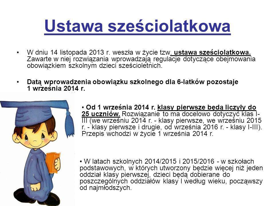 Ustawa sześciolatkowa W dniu 14 listopada 2013 r. weszła w życie tzw. ustawa sześciolatkowa. Zawarte w niej rozwiązania wprowadzają regulacje dotycząc