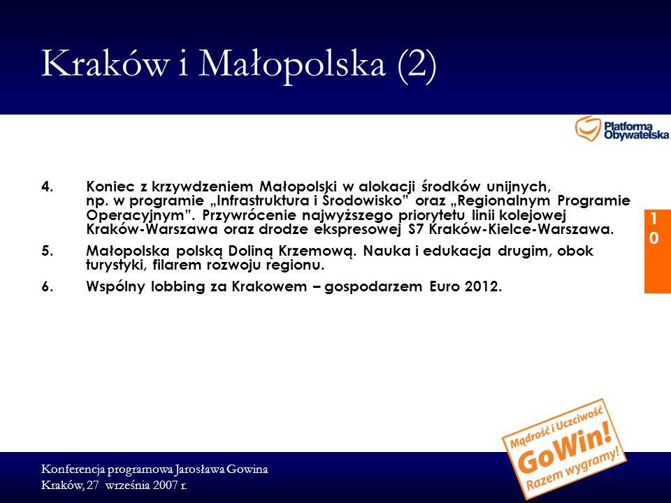 Konferencja programowa Jarosława Gowina Kraków, 27 września 2007 r. 10 Kraków i Małopolska (2) 4.Koniec z krzywdzeniem Małopolski w alokacji środków u