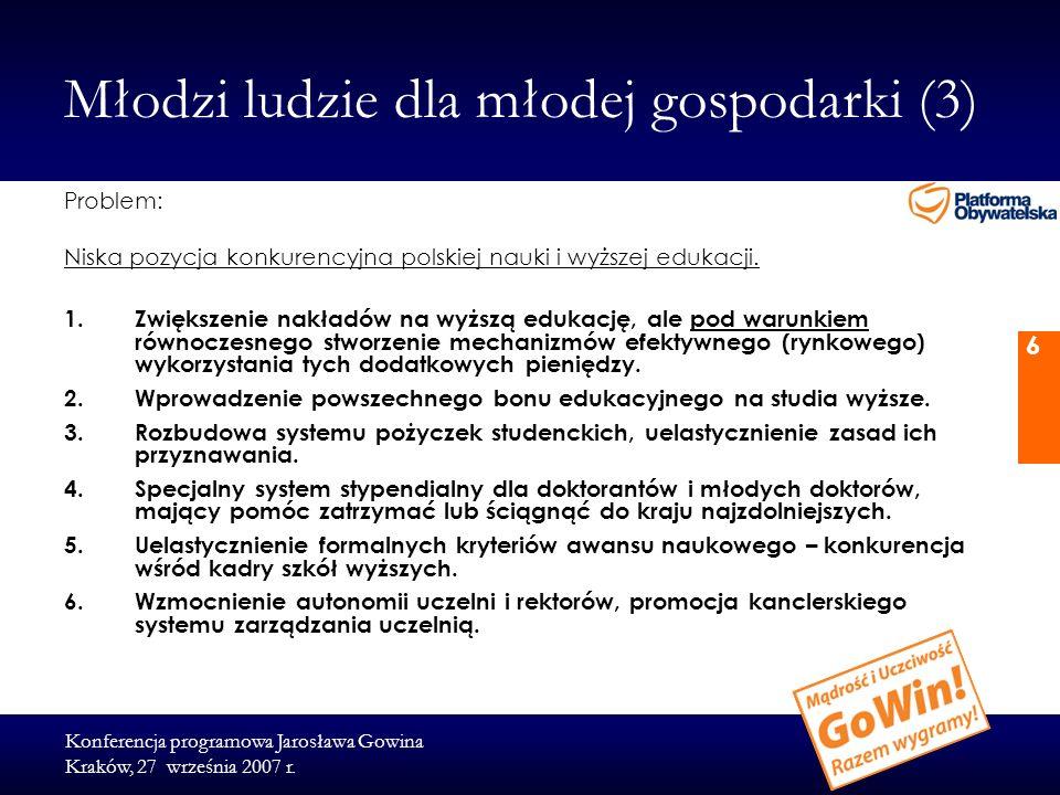 Konferencja programowa Jarosława Gowina Kraków, 27 września 2007 r. 6 Młodzi ludzie dla młodej gospodarki (3) Problem: Niska pozycja konkurencyjna pol