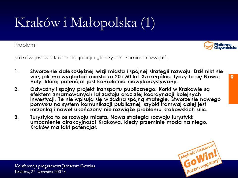 Konferencja programowa Jarosława Gowina Kraków, 27 września 2007 r. 9 Kraków i Małopolska (1) Problem: Kraków jest w okresie stagnacji i toczy się zam
