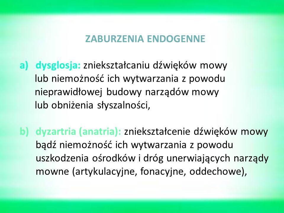 ZABURZENIA ENDOGENNE a)dysglosja: zniekształcaniu dźwięków mowy lub niemożność ich wytwarzania z powodu nieprawidłowej budowy narządów mowy lub obniżenia słyszalności, b)dyzartria (anatria): zniekształcenie dźwięków mowy bądź niemożność ich wytwarzania z powodu uszkodzenia ośrodków i dróg unerwiających narządy mowne (artykulacyjne, fonacyjne, oddechowe),