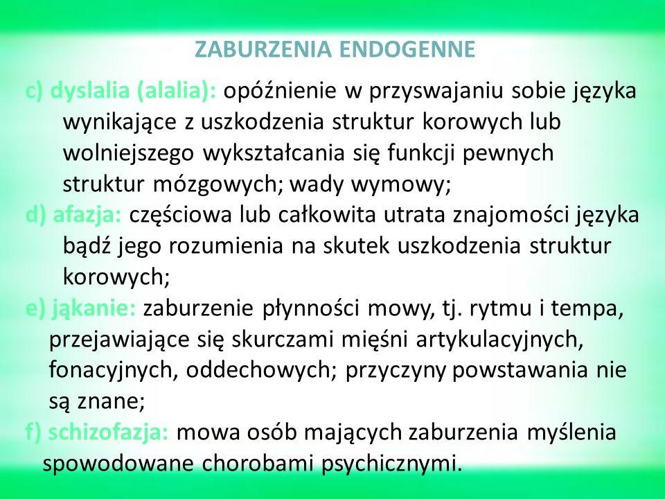 ZABURZENIA ENDOGENNE c) dyslalia (alalia): opóźnienie w przyswajaniu sobie języka wynikające z uszkodzenia struktur korowych lub wolniejszego wykształcania się funkcji pewnych struktur mózgowych; wady wymowy; d) afazja: częściowa lub całkowita utrata znajomości języka bądź jego rozumienia na skutek uszkodzenia struktur korowych; e) jąkanie: zaburzenie płynności mowy, tj.