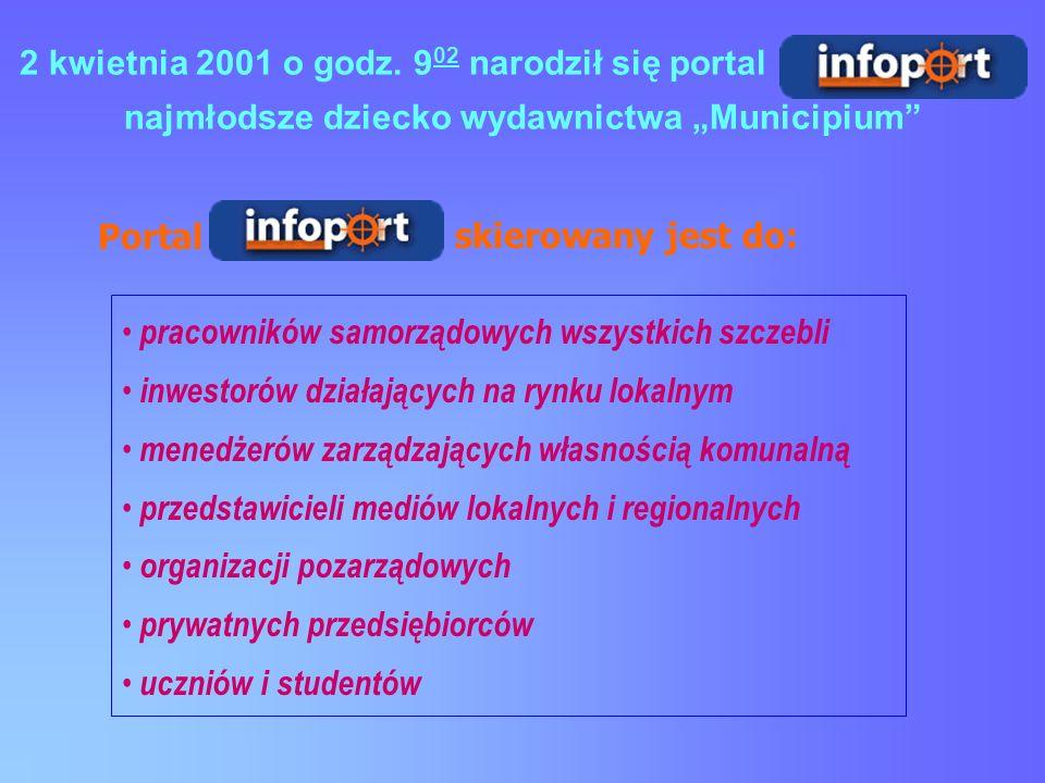pracowników samorządowych wszystkich szczebli inwestorów działających na rynku lokalnym menedżerów zarządzających własnością komunalną przedstawicieli mediów lokalnych i regionalnych organizacji pozarządowych prywatnych przedsiębiorców uczniów i studentów Portal skierowany jest do: 2 kwietnia 2001 o godz.