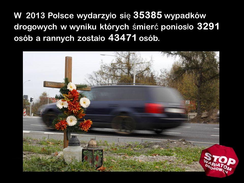 W 2013 Polsce wydarzy ł o si ę 35385 wypadków drogowych w wyniku których ś mier ć ponios ł o 3291 osób a rannych zosta ł o 43471 osób.