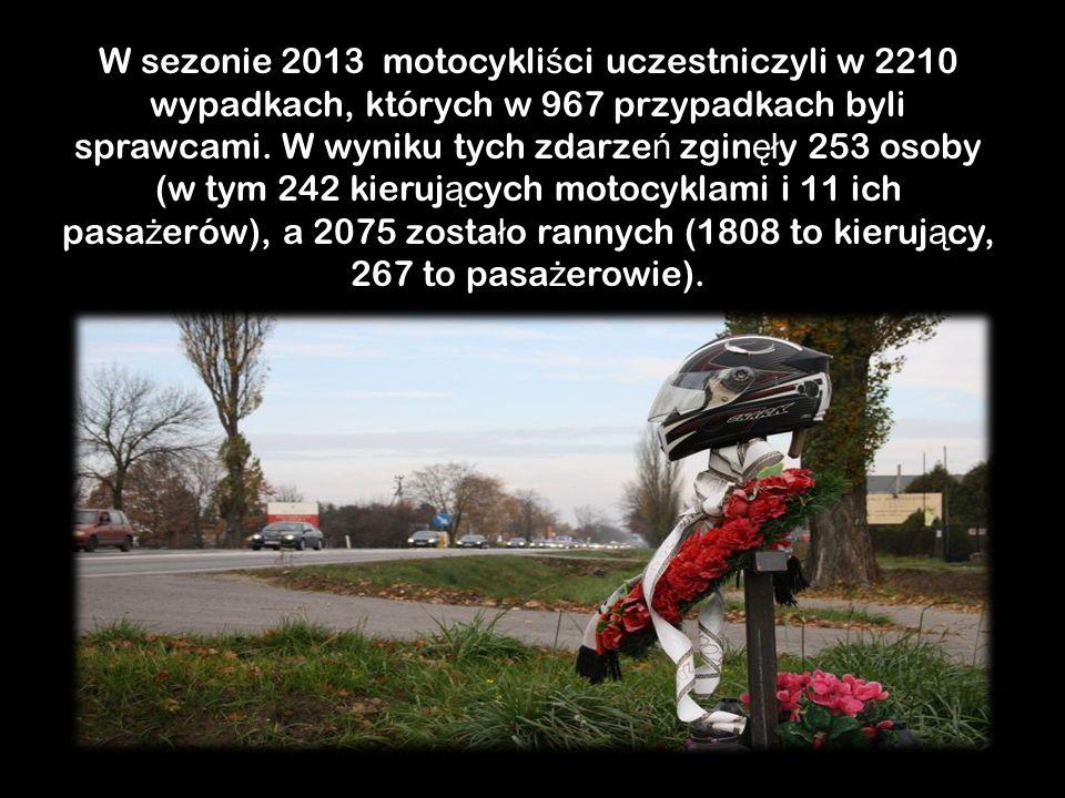 W sezonie 2013 motocykli ś ci uczestniczyli w 2210 wypadkach, których w 967 przypadkach byli sprawcami.