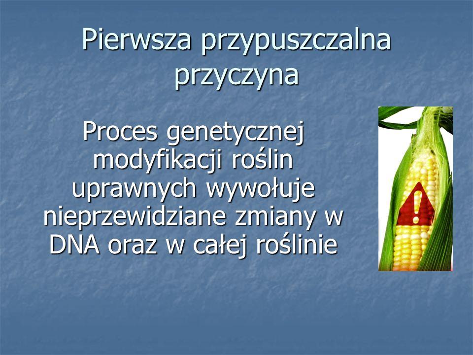 Pierwsza przypuszczalna przyczyna Proces genetycznej modyfikacji roślin uprawnych wywołuje nieprzewidziane zmiany w DNA oraz w całej roślinie