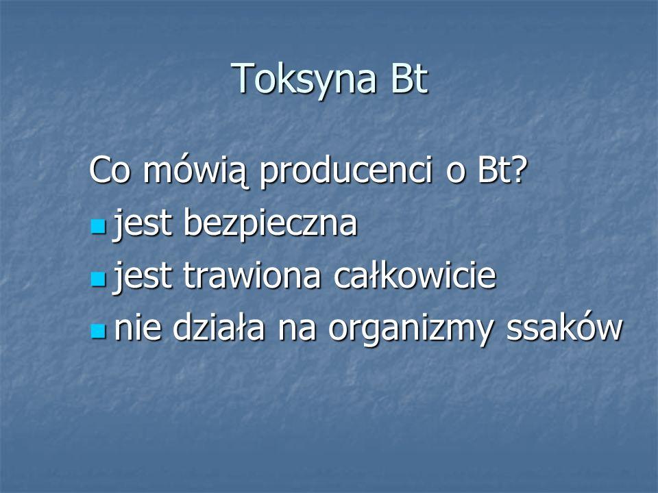 Toksyna Bt Co mówią producenci o Bt? jest bezpieczna jest bezpieczna jest trawiona całkowicie jest trawiona całkowicie nie działa na organizmy ssaków