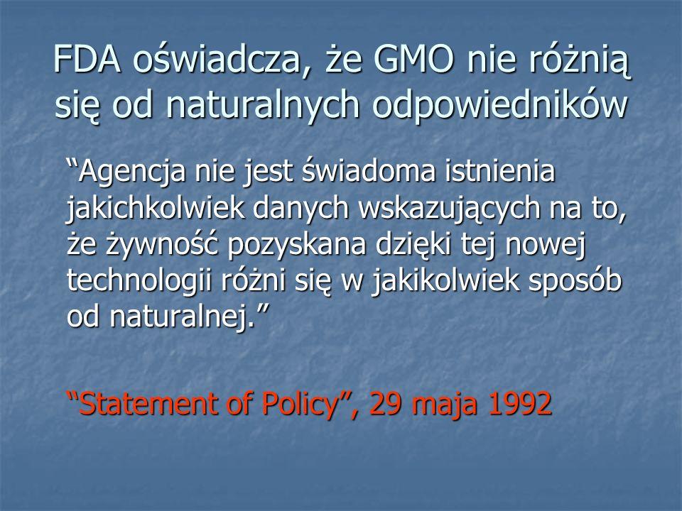 FDA oświadcza, że GMO nie różnią się od naturalnych odpowiedników Agencja nie jest świadoma istnienia jakichkolwiek danych wskazujących na to, że żywn