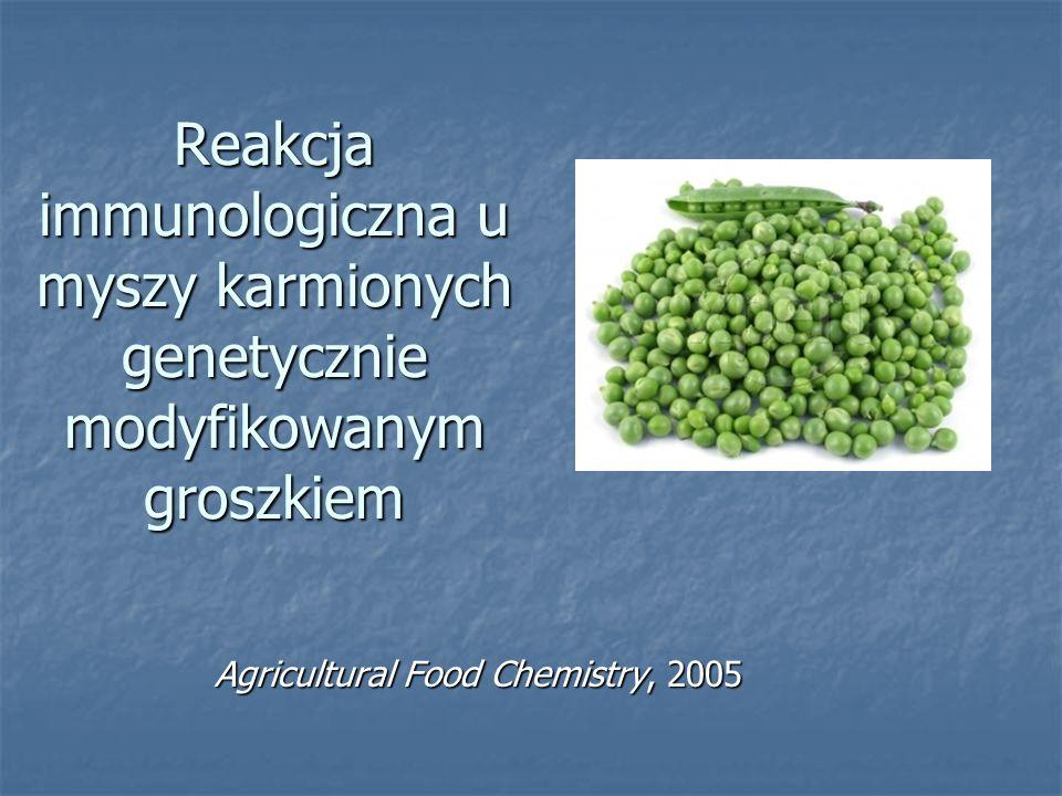 Reakcja immunologiczna u myszy karmionych genetycznie modyfikowanym groszkiem Agricultural Food Chemistry, 2005