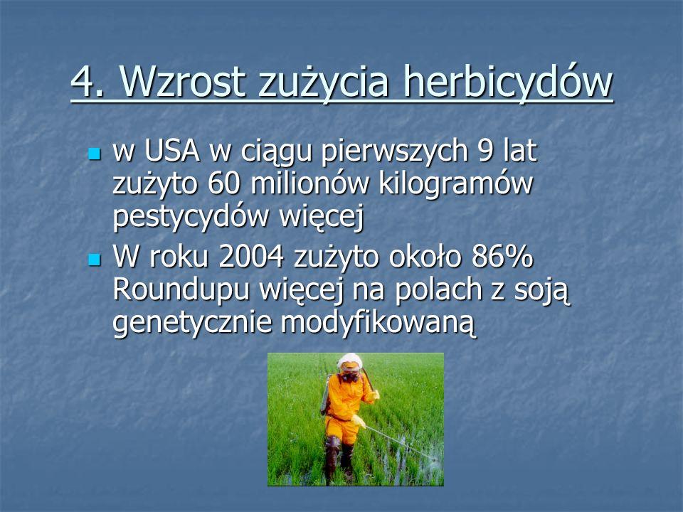 4. Wzrost zużycia herbicydów w USA w ciągu pierwszych 9 lat zużyto 60 milionów kilogramów pestycydów więcej w USA w ciągu pierwszych 9 lat zużyto 60 m
