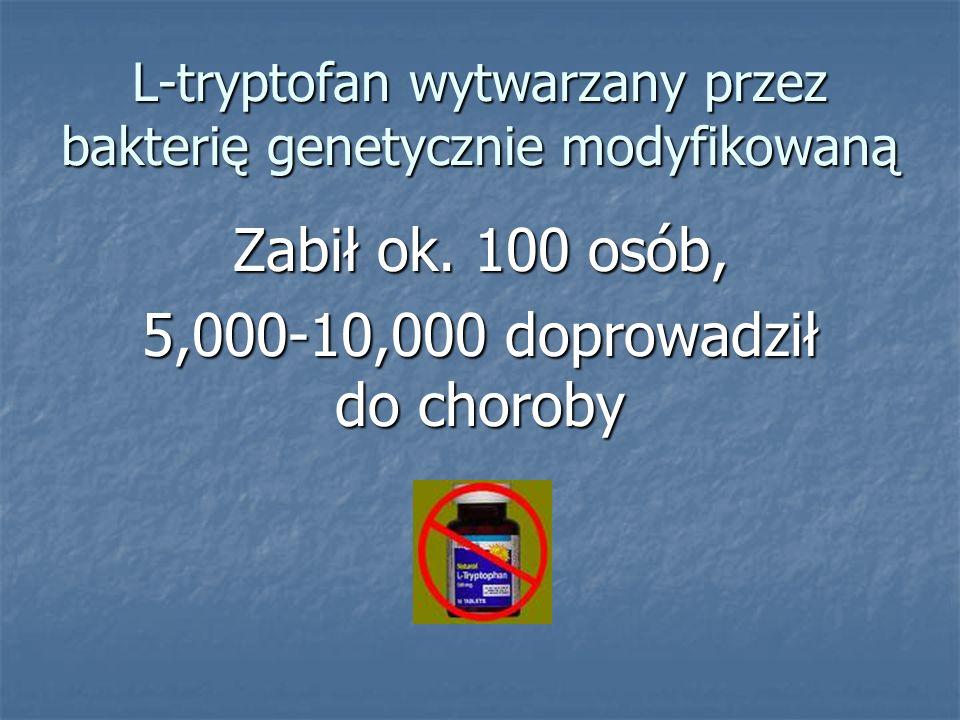 L-tryptofan wytwarzany przez bakterię genetycznie modyfikowaną Zabił ok. 100 osób, 5,000-10,000 doprowadził do choroby