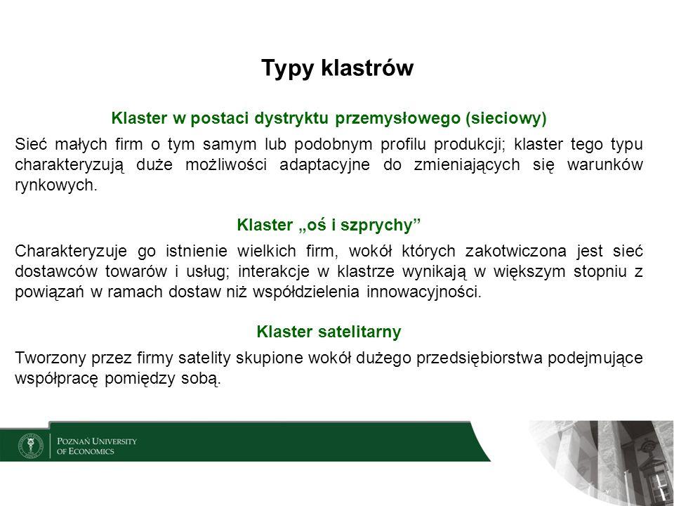 Typy klastrów Klaster w postaci dystryktu przemysłowego (sieciowy) Sieć małych firm o tym samym lub podobnym profilu produkcji; klaster tego typu char