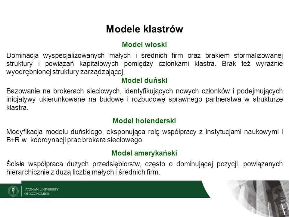 Klastry w Polsce Benchmarking PARP (2012 r.), obejmujący 35 klastrów wyraźny przyrost liczby klastrów po 2007 r., znacząca frakcja młodych klastrów, nieco ponad połowa klastrów powstała z inicjatywy oddolnej, 17% z inicjatywy odgórnej, pozostałe 31% z inicjatywy mieszanej, członkami klastrów są w ¾ przedsiębiorstwa, 9% stanowią podmioty z sektora B+R, 7% tworzą instytucje wsparcia, a pozostałą część (10%) stanowią jednostki samorządu terytorialnego oraz osoby fizyczne, na jeden klaster przypadają średnio 32 przedsiębiorstwa (rozpiętość od 8 do 102, niespełna 35% klastrów posiada większą niż średnia liczbę przedsiębiorstw),