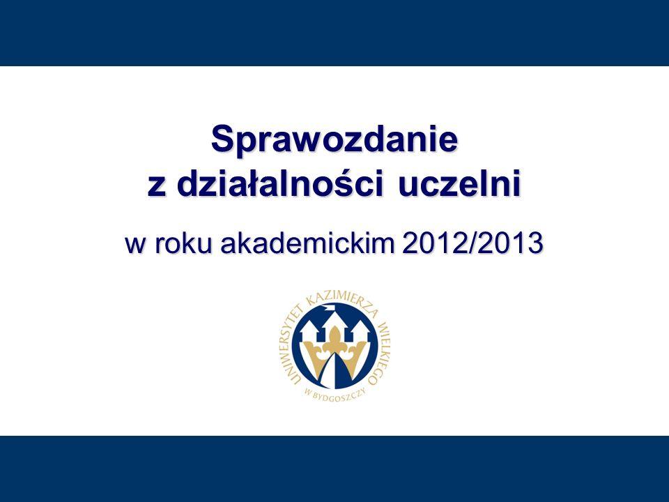 Uniwersytet Kazimierza Wielkiego 62 / 200 Uniwersytet Kazimierza Wielkiego 62 / 200 Sprawozdanie z dzia ł alno ś ci uczelni w roku akademickim 2012/2013 P EŁNOMOCNIK R EKTORA DS.