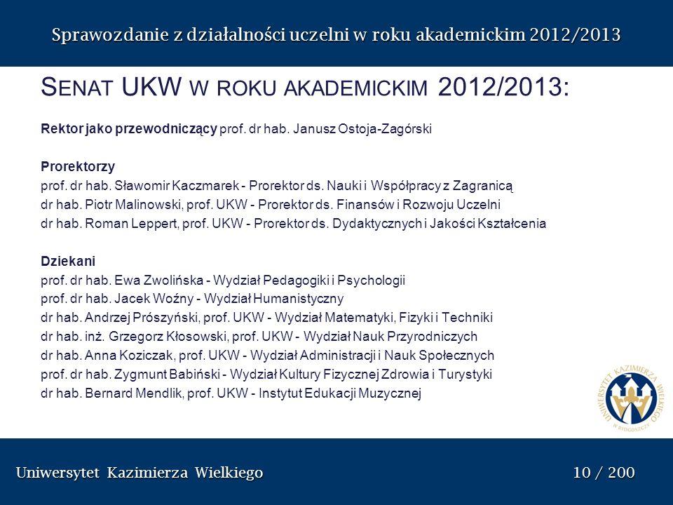 Uniwersytet Kazimierza Wielkiego 10 / 200 Uniwersytet Kazimierza Wielkiego 10 / 200 Sprawozdanie z dzia ł alno ś ci uczelni w roku akademickim 2012/20