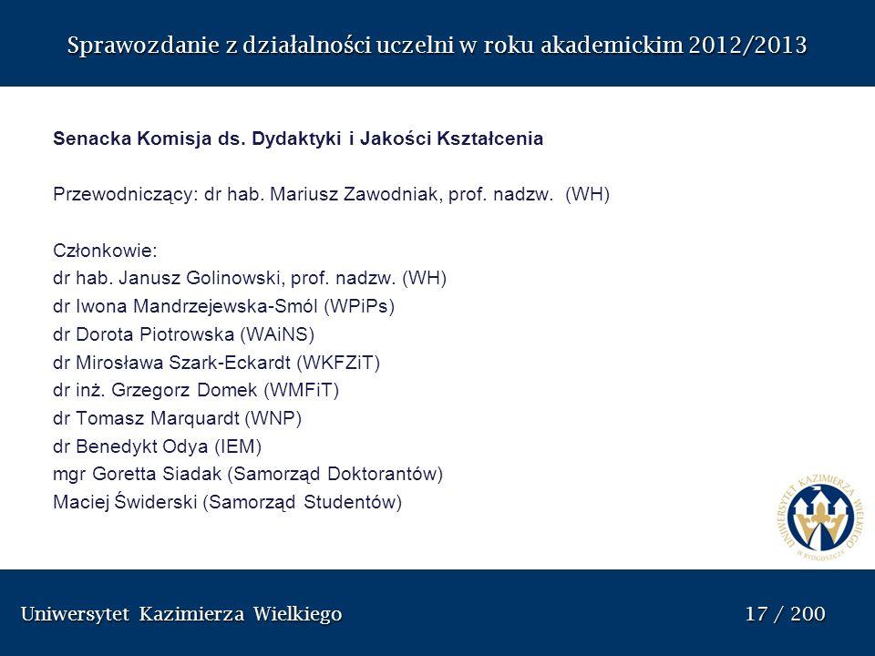 Uniwersytet Kazimierza Wielkiego 17 / 200 Uniwersytet Kazimierza Wielkiego 17 / 200 Sprawozdanie z dzia ł alno ś ci uczelni w roku akademickim 2012/20